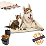 Self-Warming Pet Pad - 100% Pet Friendly, Dog & Cat Cushion - Non-Slip, Thermal-Reflective Inner Layer - No Electric - Includes Pet Food Storage Container w/Handle & Hinged Locking Lid [Bundle Pack]