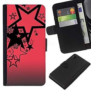 For Sony Xperia Z2 D6502 Case , Pink Black Pattern Abstract Grey - la tarjeta de Crédito Slots PU Funda de cuero Monedero caso cubierta de piel
