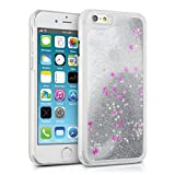 kwmobile hardcase cover for iPhone 6 / 6S with liquid - hardcase backcover protective case water with Design glitter snow globe in silver dark pink transparent