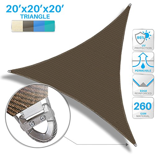 Patio Large Sun Shade Sail 20 x 20 x 20 Equilateral Triangle Heavy Duty Strengthen Durable Outdoor Canopy UV Block Fabric A-Ring Design Metal Spring Reinforcement 7 Year Warranty -Brown