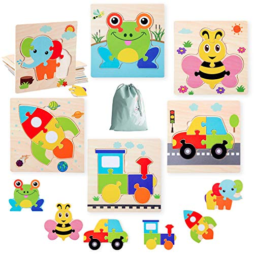 HighFun Wooden Jigsaw Puzzles for Kids Age 1 2 3 4 Years Old, Preschool Puzzles Set for Toddlers,Learning Educational Puzzles Toys for Boys and Girls Birthday Party Game