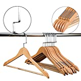 Etech Wooden coat hanger Wooden Suit Hangers Premium Quality Wood Clothes Hangers with Non-slip Sawtooth Coat Racks (Natural Wood, 10)