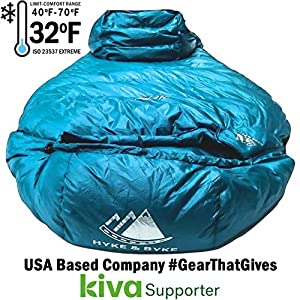 Hyke & Byke Shavano 32 Degree F 650 Fill Power Hydrophobic Down Sleeping Bag with Allied LofTech Base - Ultra Lightweight Men's and Women's Mummy Bag Designed for Summer Backpacking