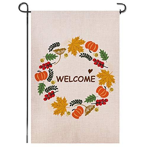 - Shmbada Autumn Maple Leaves Pumpkin Wreath Welcome Double Sided Burlap Garden Flag, Premium Material, Seasonal Fall Outdoor Banner Decorative Flags for Home Garden Yard Lawn, 12.5 x 18.5 Inch