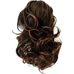 """PRETTYSHOP 14"""" Hair Piece Pony Tail Clip On Extension Voluminous Wavy Heat-Resisting Brown mix # 4T30 H97"""
