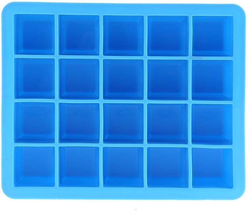 Wifehelper 20 Rejillas de Silicona Bandejas para Cubitos de Hielo Moldes para Dulces Molde para Cubitos Contenedor Peque/ño Bandeja Hielo de F/ácil Liberaci/ón Moldes Dulces Chocolates Azul
