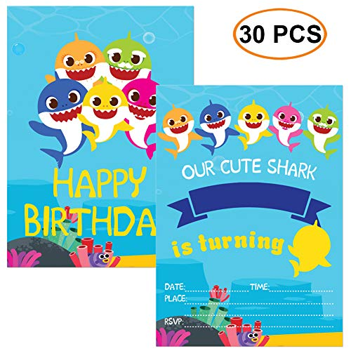 30Pcs Little Shark Invitation Greeting Card Shark Themed Birthday Party Supplies Baby Shower Invitation Invites for Kids with Envelopes