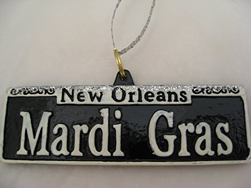 Mardi Gras St. Sign Holiday Ornament Orleans Christmas with Free Pouch/ Bag