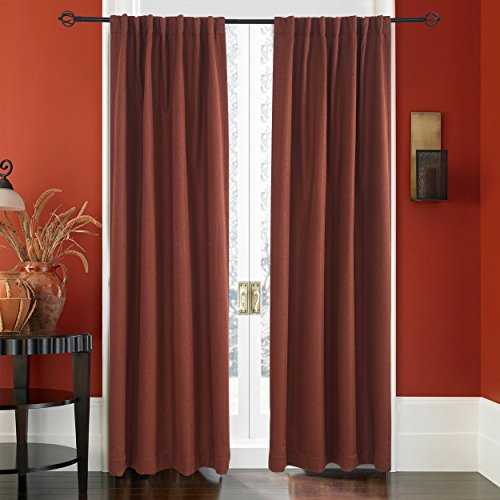 Tab Drapery - Lullabi Premium Collection, Thermal Tweed, Grasscloth Texture, Room Darkening Window Curtain Drapery, Back Tab, 84-inch Length by 50-inch Width (Burgundy,2 Panels)