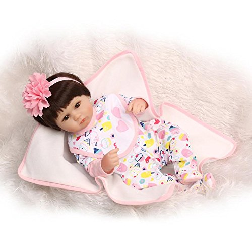 Binxing Doll Reborn Baby Doll Eyes Open So Truly Real Lifelike, Interactive & Realistic Weighted Newborn Baby Doll 16-inches (brown)