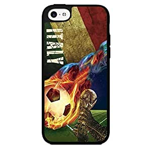 Green, Red, and White Grunge Italy Soccer Team Flag with Colorful Fiery Soccer Ball Hard Snap on Phone Case (iPhone 5c)