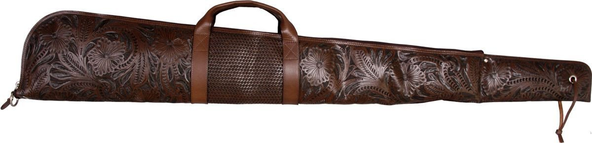 Western Chocolate Floral & Basketweave Hand-Tooled Leather Rifle Case