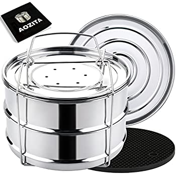 Aozita Stackable Steamer Insert Pans with Sling for Instant Pot Accessories 6/8 qt- Stainless Steel Food Steamer for Pressure Cooker, Baking, Lasagna Pans, Upgrade Interchangeable Lids Included