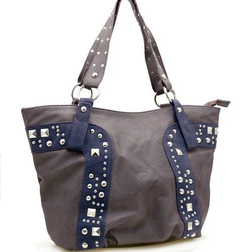 Dasein Fashion Studs Decorated Tote Bag Handbag -Grey / Blue, Bags Central