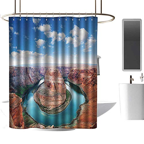 Cool Shower Curtains for Men Room Decorations Collection,Horse Shoe Bend North Rim Grand Canyon Page Arizona USA Famous Tourist Attractions,Sandy Brown,W48 x L72,Shower Curtain for Girls -