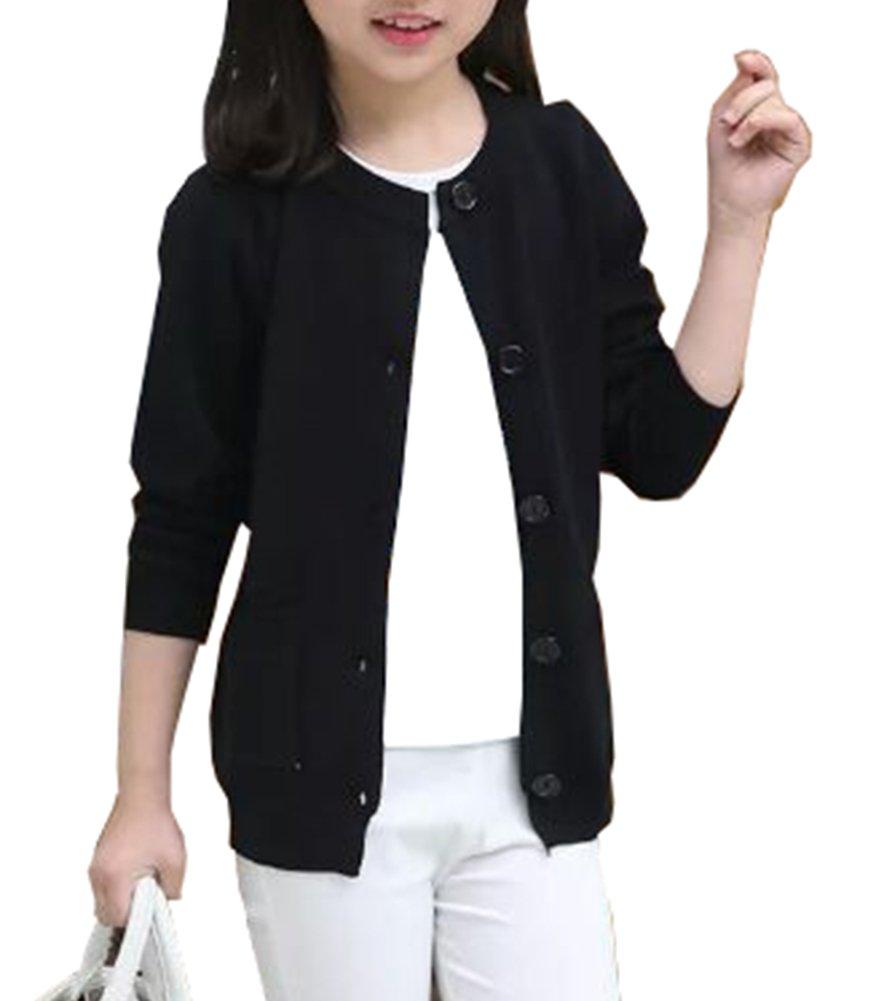RJXDLT Girls Cardigan Knit Sweaters Long Sleeve Button Cotton Sweater 5-6Y Black by RJXDLT