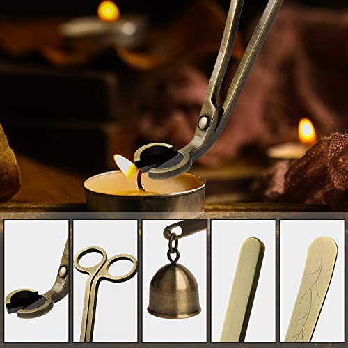 DANGSHAN Candle Snuffer Candle Accessory Set, 3 in 1 Candle Wick Trimmer, Candle Wick Dipper, Candle Snuffers (Bronze) by DANGSHAN (Image #6)