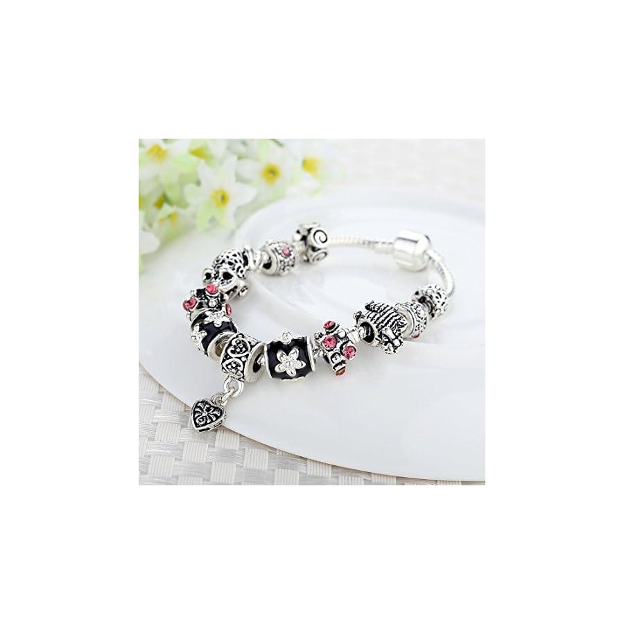 Presentski Fashion Jewelry European 925 Sterling Silver Plated Frog Charm Bracelet for Women Men Girls
