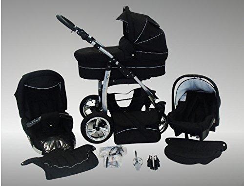 Sonnenschirm, Autositz /& Adapter, Regenschutz, Moskitonetz, Getr/änkehalter, Schwenkr/äder 04 Schwarz /& Schwarz Chilly Kids Dino Kinderwagen Sommer-Set