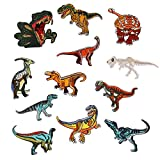 Dandan DIY 12pcs Dinosaur Sew-on Iron-on Patch Patches Clothes Dress Plant Hat Jeans Sewing Flowers Kid Applique Accessory (12pcs Dinosaur)