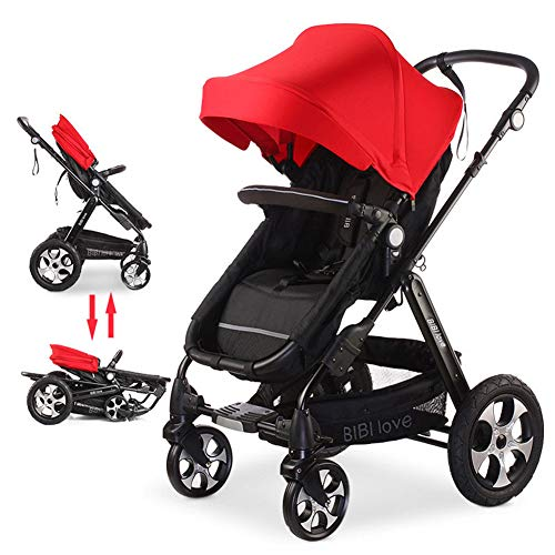 WDXIN Kid's Stroller Pushchair High Landscape Design Simple Storage Five-Point seat Belt Two-Way Push and Pull for 0-36 Months Baby