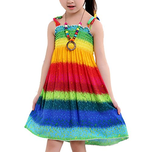 Geekercity Girls Bohemian Dresses Floral Sleeveless Rainbow Beach Sundress with Necklace