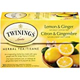 Twinings of London Herbal Lemon and Ginger Tea Bags, 20 Count (Pack of 6)