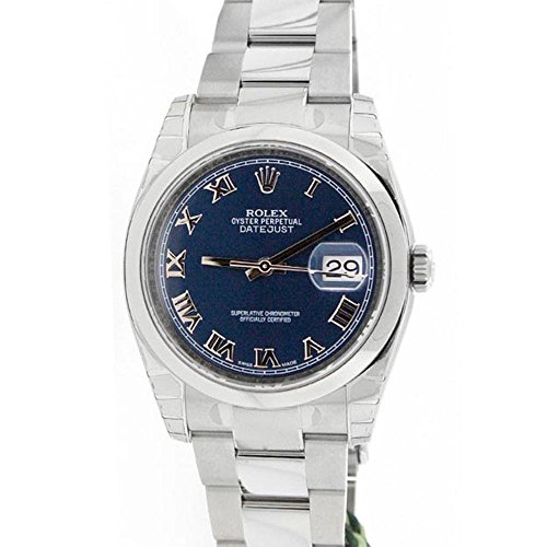 Rolex Datejust 36mm Smooth Blue Dial Stainless Steel Watch 116200