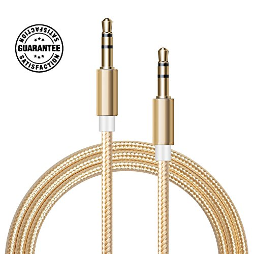 AUX Cable (Gold) - 3FT 1M Nylon Braided 3.5mm Gold Plated Connector Hi-Fi Sound Quality for Car, Home, Stereos, iPod, iPhone, Samsung, Speaker, Headphones, and More Gold Pistis