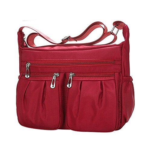 Clearance Sale Women Crossbody Bag Nylon, Fashion Solid [ Zipper Waterproof Shoulder Bag ] (Red) by Vanvler Backpack (Image #2)