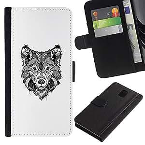 A-type (Black White Hound Dog Canine Sketch) Colorida Impresión Funda Cuero Monedero Caja Bolsa Cubierta Caja Piel Card Slots Para Samsung Galaxy Note 3 III