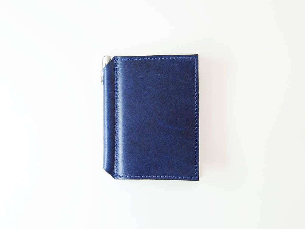 Mini Journal with Pen Refillable Minimalist Notebook Extra Small Moleskine Volant Vintage Travel Pad with Pen Holder Personalized Gift Handcrafted from Horween Chromexcel Leather of Blue Ink Color