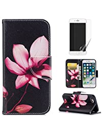 For iphone 7 Plus/8 Plus Case,OYIME [Colorful Painting] Elegant Pattern Design Bookstyle Leather Wallet Case with Screen Protector Kickstand Card Slots Function Holster Full Body Protection Bumper Magnetic Closure Flip Cover with Wrist Lanyard - Pink Lotus