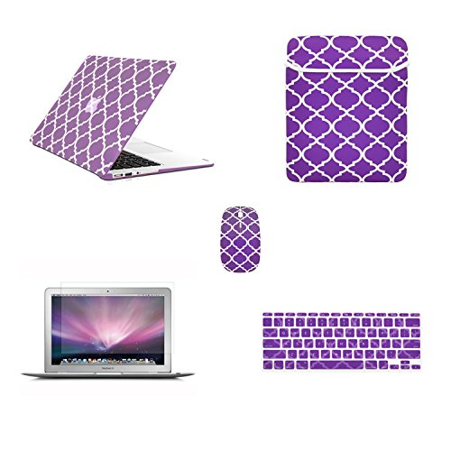 """TOP CASE - 5 in 1 Bundle Quatrefoil Rubberized Hard Case + Keyboard Cover + LCD Screen Protector + Sleeve Bag + Mouse Compatible with MacBook Air 11"""" Model A1370/A1465 - Purple"""