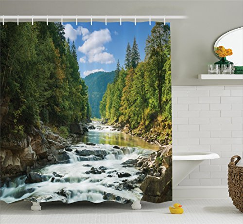 Ambesonne Lake House Decor Collection, Mountain River Along Forest Waterfall Rocks Stream Travel Destination Hiking Sunny Image, Polyester Fabric Bathroom Shower Curtain, 75 Inches Long, Bue Destination Collection
