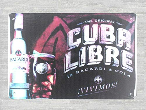DYTrade Tin Metal Sign 16 x 12 - Cuba Libre Bacardi Rum Cocktail tin Metal Sign Retro Rustic Signs