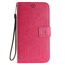 NEXCURIO [Embossed Dandelion] ASUS ZenFone 2 Laser (ZE551KL) Wallet Case with Card Holder Folding Kickstand Leather Case Flip Cover for ASUS ZenFone 2 Laser (ZE551KL) (Hot Pink)