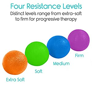 Vive Hand Exercise Balls - Grip Strengthening Physical, Occupational Therapy Kit - Squishy Stress, PT, Arthritis Pain Relief Workout Set - Fidget Finger Muscle Squeeze Resistance Strength Egg Trainers from Vive Health