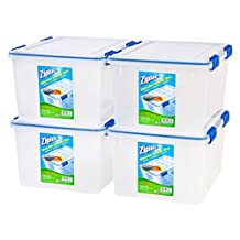 IRIS 394055 44 quart Ziploc WeatherShield Storage Box, 4 Pack, Clear