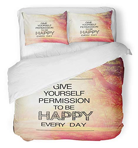 Emvency 3 Piece Duvet Cover Set Breathable Brushed Microfiber Fabric Inspirational Typographic Quote Give Yourself Permission to Be Happy Every Day Bedding Set with 2 Pillow Covers Twin Size