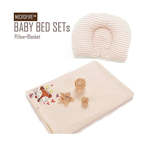 MICROFIRE Baby Pillow for Newborn Infant Head Shaping Pillow Set with Baby Blanket Receiving Blanket, Protection Flat Head Syndrome 100% Cotton (0-2 Months)