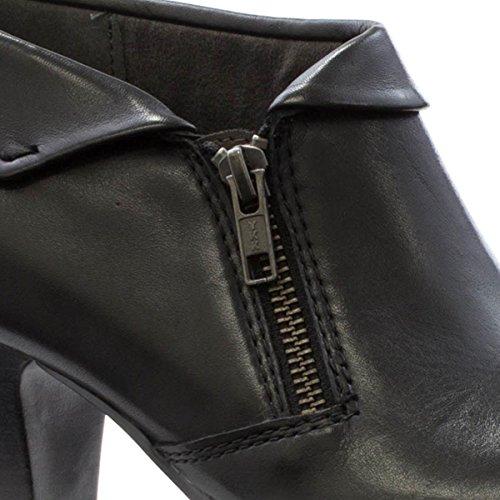 Jana - Zapato de tacón, cerrado al tobillo, con parte superior doblada, negro, para mujer Jana Negro