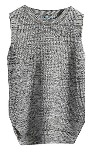 M Knit Womens Solid Vest Pullover Sleeveless Round Sweater Warm amp;S Neck 1 amp;W qrSEzqw