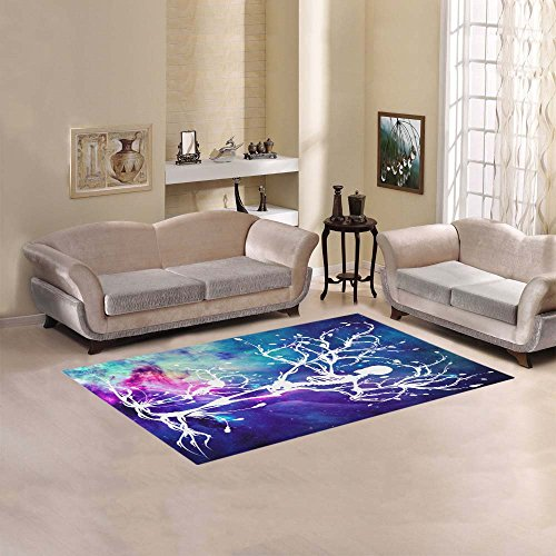 InterestPrint Home Decor Colorful Galaxy Outer Space with White Tree of Life Area Rug Cover 5'x 3'3, Nebula Cosmic Modern Carpet Floor Mat Rugs Cover for Children Kid in Living Room Bedroom Playroom