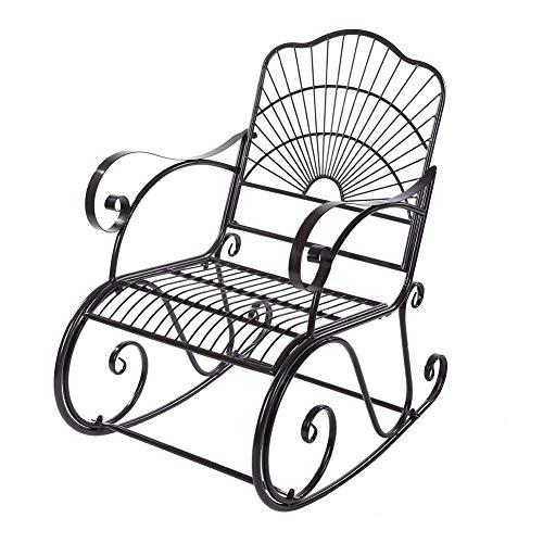 Outdoor Rocking Chair,Iron Rocking Rocker Chair Single Chair in Outdoor Patio Backyard Park