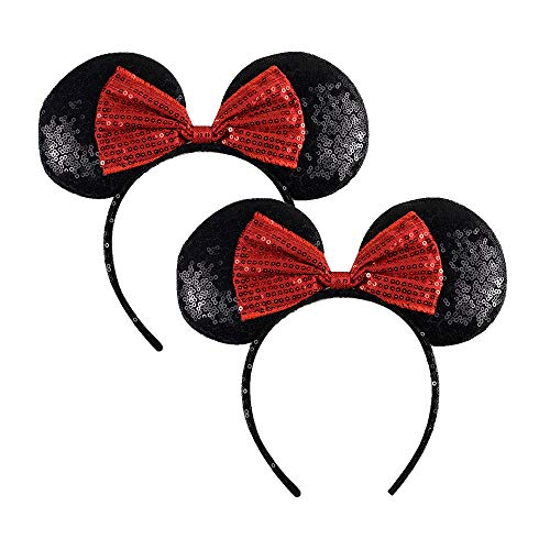 (Red Mickey Mouse Ears - Rainbow Minnie Mouse Ears Headband for Kids Adult - Sparkly Mouse Ears Hat - Sequin Headband for Girls Birthday Costume Party, 2)