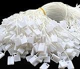 Kang Yuan 7 inch 1000 Pcs Hang Tag Nylon String Snap Lock Pin Loop Fastener Hook Ties (White)