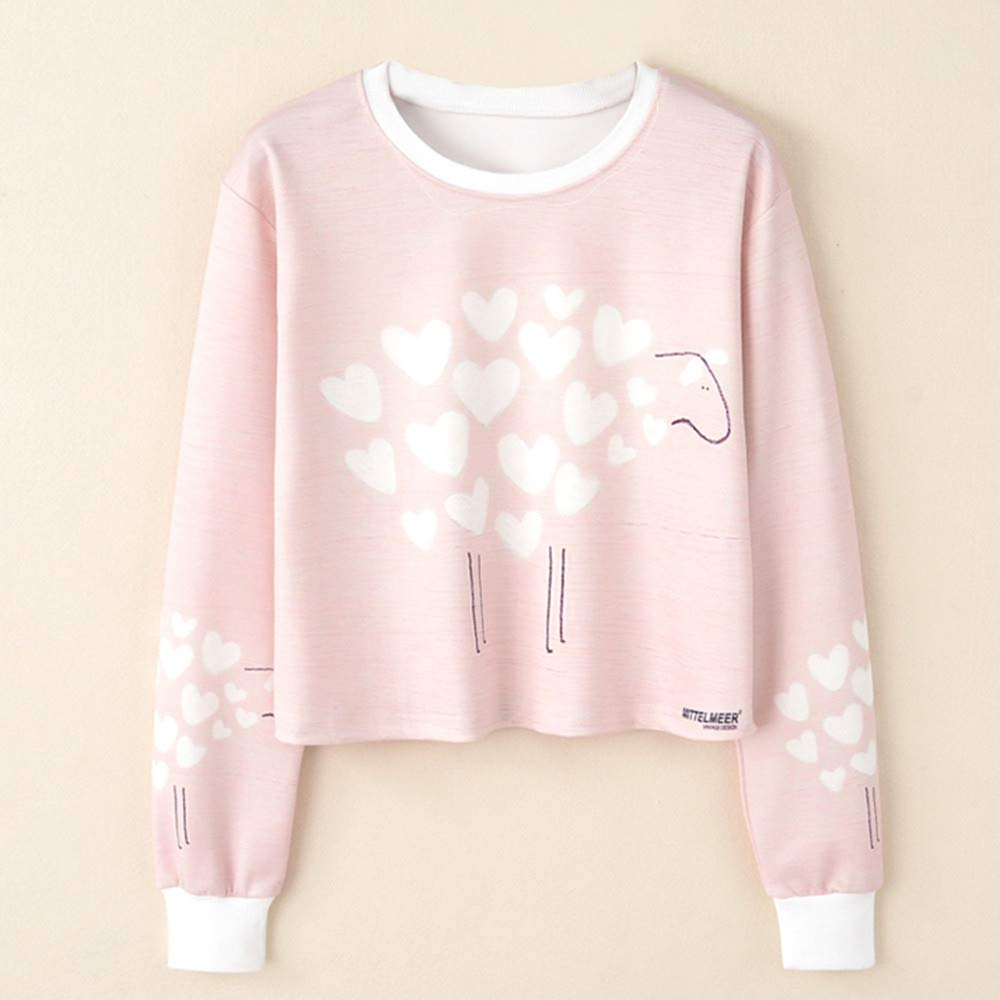 Amazon.com: BOLUOYI Sweatshirts for Teens Under 5 Dollars,Women Long Sleeve Print Casual Sweatshirt Pullover Top Blouse,Pink,L: Clothing