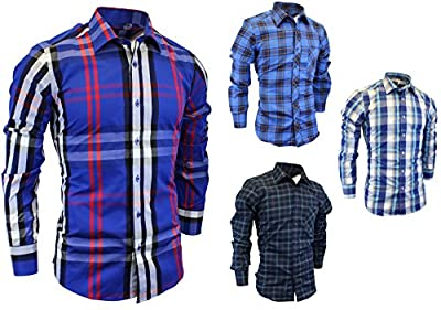 Enimay Men's Fomal Classic Casual Long Sleeve Button Front Dress Shirt Plaid