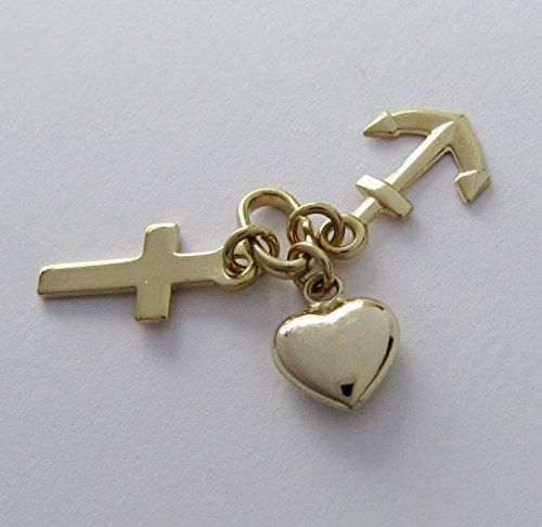 Pendentif crois Amour Espoir véritable 585or jaune 14carats